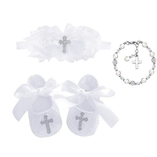 Bow Dream Baby Girl's Baptism Christening Shoes Headband Set with Faux Pearl Bracelet White 3-6 Months