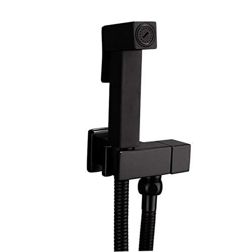 Bidetkranen Muur Messing Zwart Koud water Toilet Hoekventiel Handheld Hygiënische Douchekop Wassen Auto Huisdier Sproeier Airbrush Kranen, Zwart