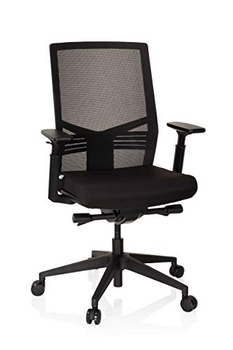 hjh OFFICE 720096 Profi Bürostuhl VARETO I Stoff/Netz Schwarz Drehstuhl ergonomisch, Rückenlehne & Armlehnen höhenverstellbar