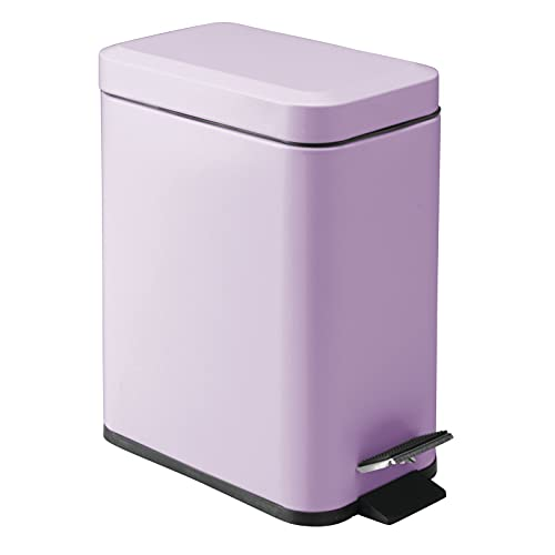 mDesign 1.3 Gallon Rectangular Slim Profile Metal Step Trash Can Wastebasket, Garbage Container Bin, Bathroom, Powder Room, Bedroom, Kitchen, Craft Room, Office - Removable Liner Bucket - Light Purple