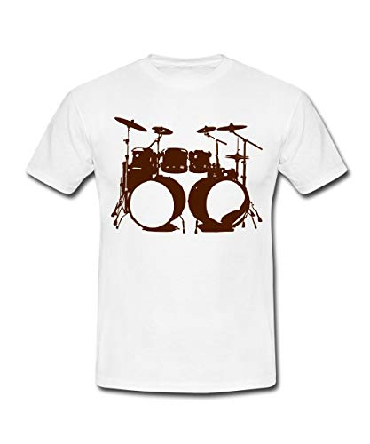 Schlagzeug, Drums, Drummer, Schlagzeuger, Musik, Instrument, Double bass Männer T-Shirt, XL, Weiß