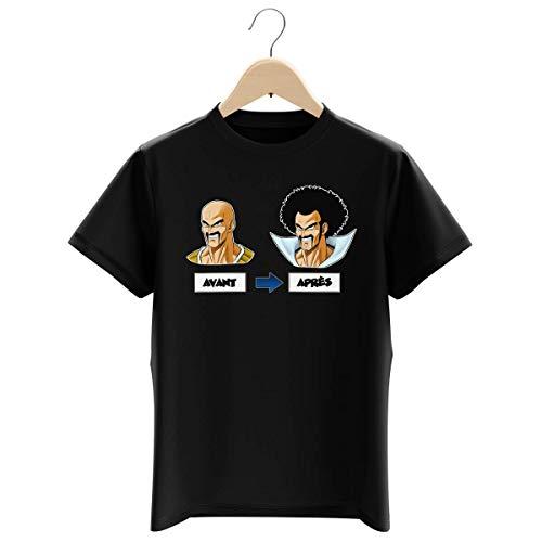 Okiwoki T-Shirt Enfant Garçon Noir Parodie Dragon Ball Z - DBZ - Nappa et Hercule Satan - Avant - Après (T-Shirt Enfant de qualité Premium de Taille 13-14 Ans - imprimé en France)