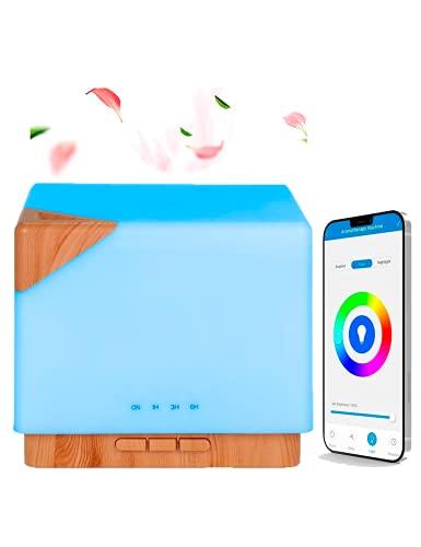 Humidificador de aceites esenciales Difusor de aromas ultrasónico 700mL Compatible con Alexa y Google Home, Multicolor, ambientador, aromaterapia