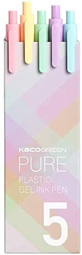 Kaco Bolígrafo Retráctil de Tinta de Gel, 5 Unidades de Recambio de Tinta de 5 Colores, Punta Extra Fina de 0,5 mm, Serie Macarons