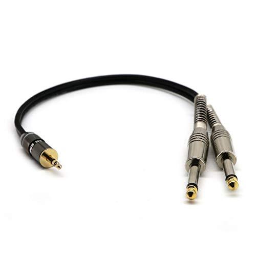 Hainice Adaptador del Cable de Audio estéreo de 3,5 mm 1/8' 11,8' Adaptador del Cable Durable Negro Macho a 1/4' 6.35mm Hombre Mono Auricular Y-Cable Separador Combinador Conector Wire Cord