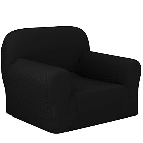 Dreamzie - Sofa Cover Stretch 1 Seat - 60% Recycled Cotton Certified OEKO-TEX Chemical-Free - Made in Spain - Black