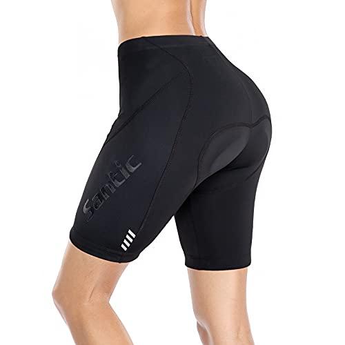 Santic Mujer Ciclismo Corto Pantalones Badana Acolchados MTB Transpirables De Secado Rápido Negro
