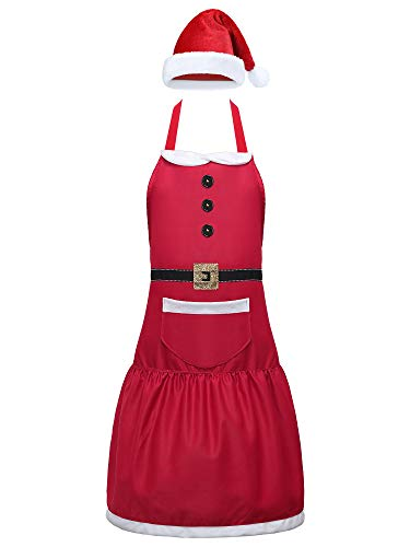 Christmas Santa Apron Claus Red Aprons with Pockets and Hat for Kitchen Cooking Baking