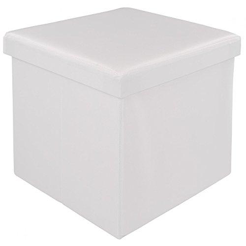 HomeLux Faltbarer Sitzhocker mit Stauraum Sitzwürfel Aufbewahrungsbox Sitzbox 38 x 38 x 38 cm Weiss