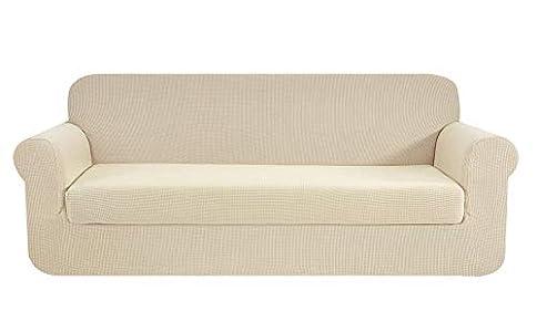 E EBETA Tunez Funda sofá Duplex, Funda de sofá, Tejido Jacquard de poliéster y Elastano, Funda de Clic-clac elástica Cubiertas de sofá de 3 Plaza (Marfil, 185-235 cm)