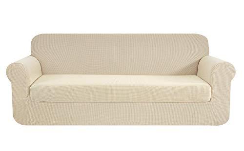 E EBETA 2-Stück Sofahusse Jacquard Sofaüberwurf Sofaüberzug, Sofahusse Couchbezug Möbelschutz rutschfest, Sofa Abdeckung Hussen + Polsterbezug 3 Sitzer (Cremefarbe, 185-235 cm)