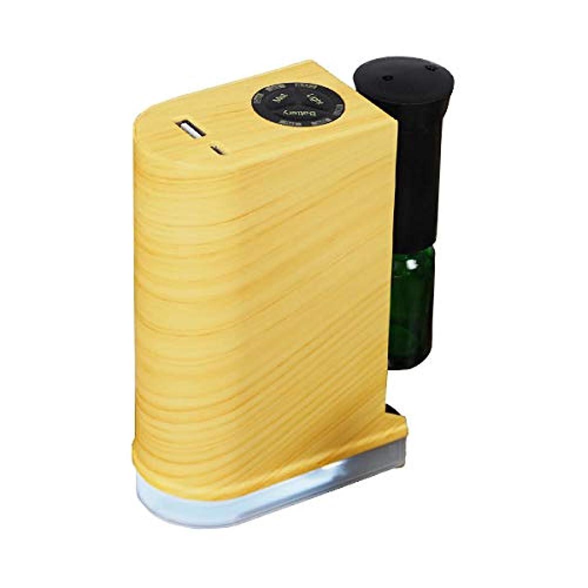許容できるダブルポケットアロマデュフューザー 水を使わない ネブライザー式アロマディフューザー LED搭載 アロマオイル 精油 アロマ芳香 (ナチュラル)