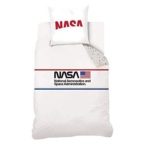 Funda de edredón NASA Chic, color blanco, para niño, 140 x 200 cm, 1 persona, 100% algodón, edición limitada