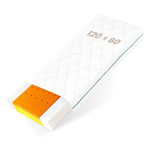 BestCare Visco Materasso Termoelastico per Neonati e Bambini | 120 x 60 x 12 cm | con Memory Foam | 2 lati | Aloe Vera Copri | per un Miglior Comfort del Sonno | Prodotto EU