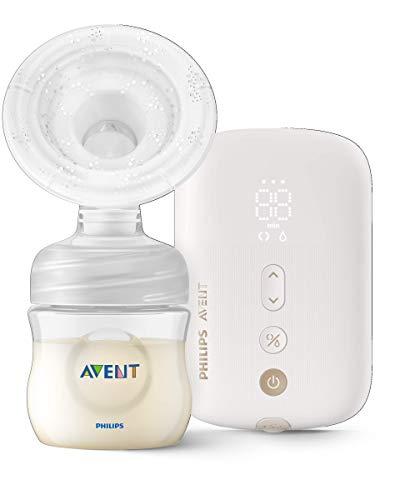 Philips Avent SCF396/11 - Sacaleches eléctricos individual silencioso con cojín masajeador, 8 ajustes de estimulación y 16 de extracción, biberón natural de 125 ml incluido, color blanco