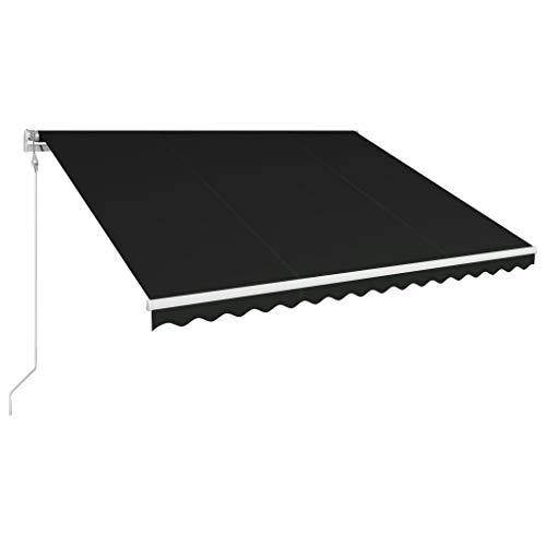 Tidyard Automatisch Einziehbare Markise Gelenkarmmarkise Sonnenmarkise Balkonmarkise Terrassenmarkise Klemmmarkise, Sonnenschutz UV-beständig, 450×300 cm Anthrazit