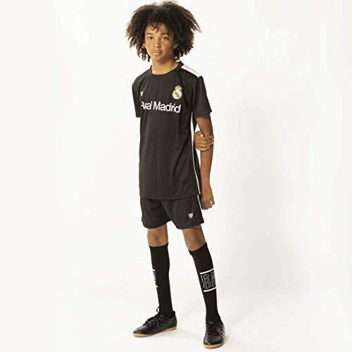 Morefootballs - Offizielles Real Madrid Auswärts Trikot Set für Kinder - Saison 18/19-116 - Vollständiges Tenue mit Trikot und kurzer Hose - Fussball Shirt und Shorts Schwarz
