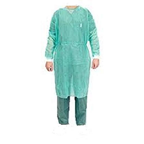 10 pz camice monouso colore verde in TNT per la protezione di operatori, visitatori o copertura del paziente a 10 pz in busta CAMICE RESISTENTE taglia unica