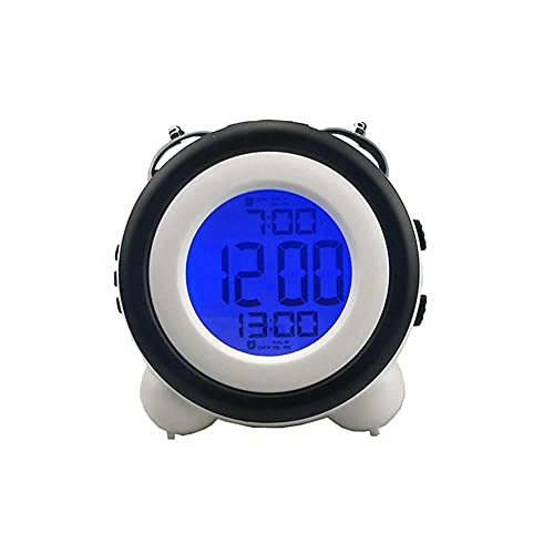 Blan Despertador digital, gran volumen, sencillo despertador LED tridimensional, reloj electrónico con luz silenciosa, timbre doble, adecuado para salón, dormitorio, estudio, oficina.