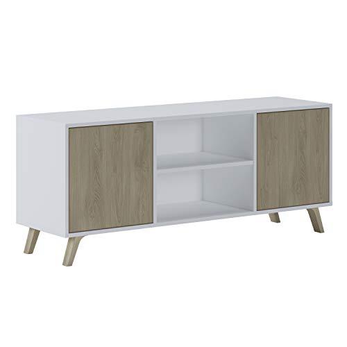 Home Innovation - TV kast 140 met 2 deuren, woonkamer, WIND model, witte structuur kleur, Puccini deuren kleur, meet 140x40x57cm hoogte.
