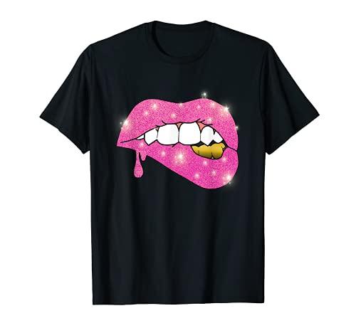 Tee Pink Lippen Zähne Gold Glow Gelb Brillant Geschenk Glanz T-Shirt