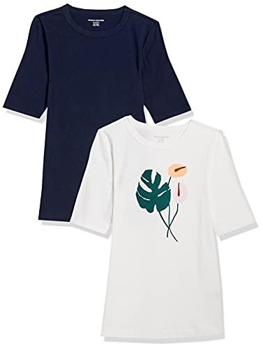 Amazon Essentials Paquete de 2 Camisetas de Manga Corta con Cuello Redondo y Ajuste Entallado, 2-Pack Multicolor-Montsera/Navy, XL