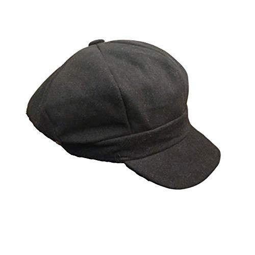 Goldenlight Baskenmütze für Damen, warm, weich, mehrere Farben erhältlich Gr. One size, Schwarz 02