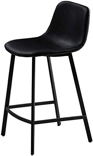 Industrial Bar Stool Chair with Footrest Dining Chairs Barstools for Kitchen | Pub | Cafe Stools Wood Seat Max. Load 200kg Black Metal Legs