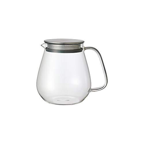 Kinto Unitea One Touch Teekanne aus Edelstahl, 720 ml, hitzebeständig, mit Edelstahl-Sieb im Deckel, mikrowellen- und spülmaschinenfest