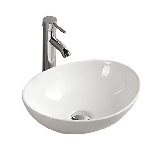 Gimify Lavabos Sobre Encimera Cerámica sin Desbordamiento para el Baño (33*40*14.5cm)
