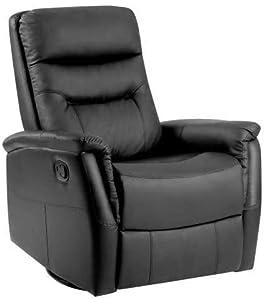 Waniyin Computerstuhl aus PU-Leder mit Lehnsessel, Kino-Stuhl, für Wohnzimmer, Schwarz