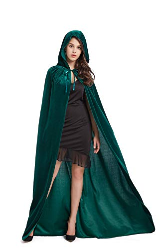 BEBEP 59inches Unisex Long Velvet Hooded Cloak for Halloween Christmas Masquerade Cosplay Costume Green