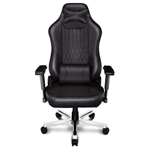 Swivel bureaustoel, Computer Gaming Chair Leer Ergonomische bureaustoel Reclining stoel Zwart