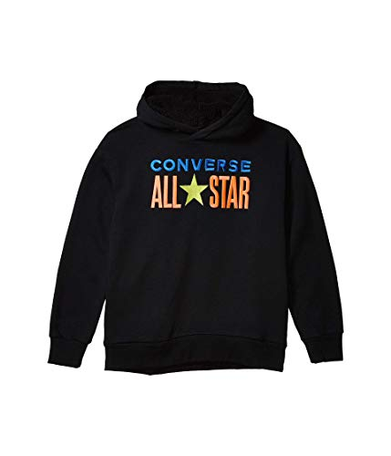 Converse Kids Boy's All Star Sherpa Hood Pullover Hoodie (Big Kids) Black XL (16 Big Kids)