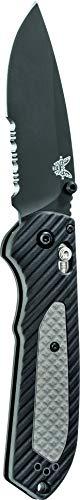 Benchmade - Freek 560SBK, Drop-Point Blade, Serrated Edge, Satin Finish, Black/Grey Versaflex Handle, Made in the USA