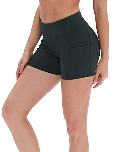 icyzone Damen Tights Shorts Sport Kurze Hosen - Laufshorts Fitness Yoga Leggings (L, Dark Green)