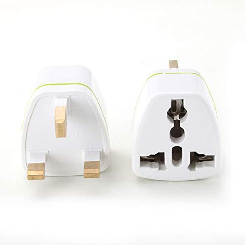 Sysow Adaptador de viaje para Reino Unido, 3 unidades, enchufe británico de Reino Unido, enchufe europeo a enchufe británico, color blanco