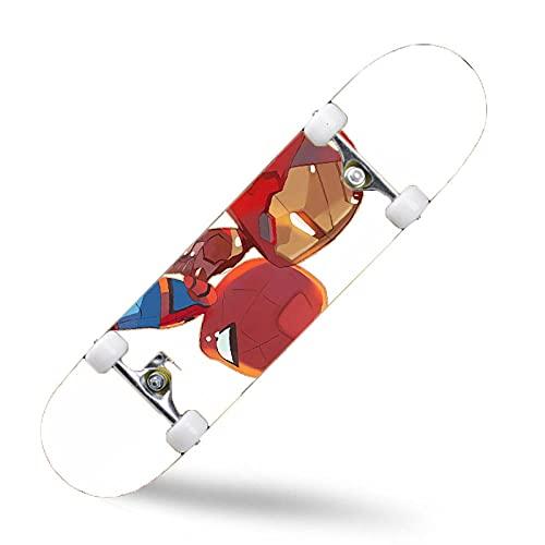 ZASX Tabla Completa de Skate de 31 x 8 Pulgadas,con rodamientos de Bolas ABEC-7,Iron Man con pequeña arañaMadera de Arce de 8 Capas Adecuada para niños,Adolescentes y Adultos,con un Peso de 150 kg.