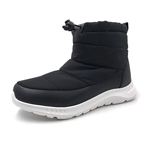 [アモジ] メンズ スノーシューズ レディース スノーブーツ ブーツ ショートブーツ 冬用 スニーカー 秋 撥水 防寒 冬 あったか ボア モコモコ ファー 暖かい すのーぶーつ すのー めんず YF801 黒 ブラック/ホワイト 27.0cm