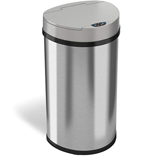 iTouchless 13 Gallon Touchless Sensor Kitchen Trash Can with Odor Control System, Stainless Steel, Semi-Round