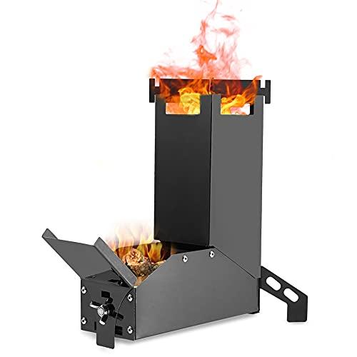 Estufa que acampa de acero inoxidable ligero de madera estufa de alcohol quemador de la estufa, estufa de leña para acampar portátil Rocket horno al aire libre plegable mini estufa de leña Negro