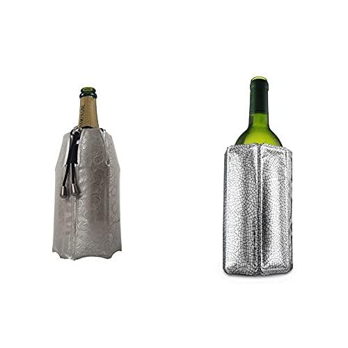 Vacu Vin 38855626-Enfriador Rápido, Estampado Color Platino Enfriador para Botellas De Cava, Plástico Y Gel, Plateado, Cm + 8714793388031 Enfriador Activo De Vino, Plástico, Plata