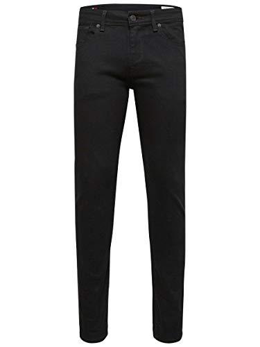 SELECTED HOMME Herren Shnslim-leon 1001 Black St Jns Noos Slim Jeans, Black, 31W 32L EU