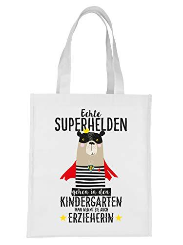 clothinx Geschenk-Tasche Echte Superhelden gehen in den Kindergarten man nennt sie auch Erzieherin Weiß