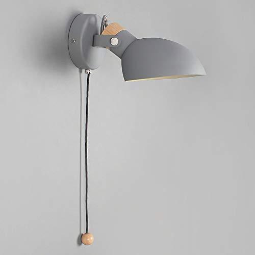 Lyghtzy® Aplique de pared de madera de hierro forjado y madera de diseño escandinavo con interruptor de cordón para dormitorio Sala de estar Sala de lectura (Gris)