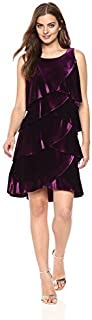 S.L. Fashions Women's Jewel-Strap Tiered Cocktail Dress