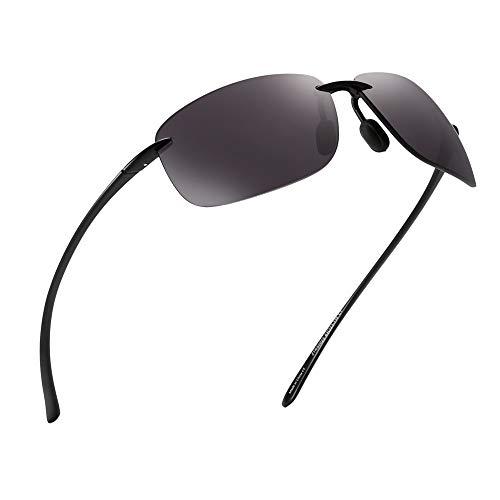 JIM HALO Sport Sonnenbrille für Damen Herren TR90 Randlos Unzerbrechlich Rahmen für Laufen Angeln Baseball Fahren Grau