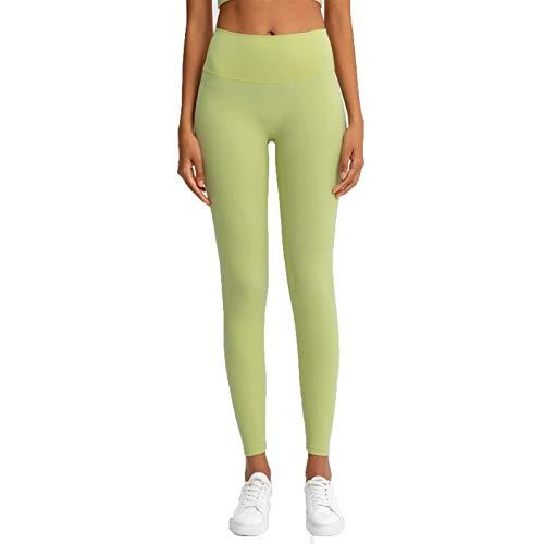 TXXT Leggings deportivos para mujer, de cintura alta, para yoga, a prueba de sentadillas, fitness, gimnasio, atlético, leggings (color amarillo limón, tamaño: XL)