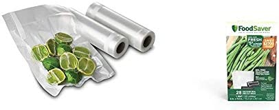 FoodSaver FSFSBF0526 P00 8 Inch Roll Two pack 20 Feet Long 1 Pint Precut Vacuum Seal Bags with product image