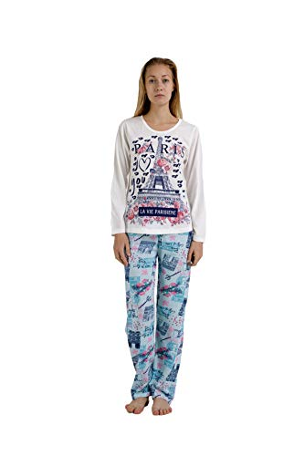 Pijama Mujer de 2 Piezas-Pijama de Algodón 100%-Pijama de Primavera Verano, Modelo Vie Parisene